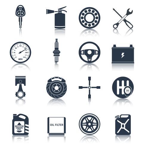 Bildelar ikoner svart vektor