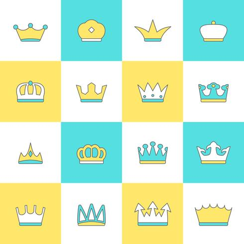 Crown ikonuppsättning vektor
