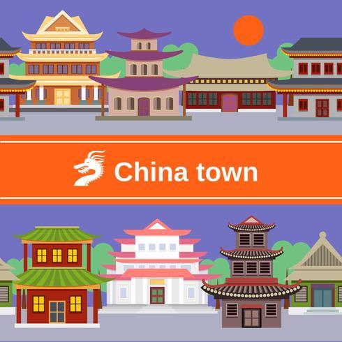 Kina staden flisbar gräns vektor