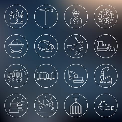Kolindustrin ikoner skiss vektor