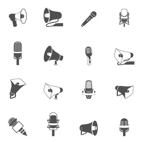 Mikrofon- och megafonikoner svart vektor