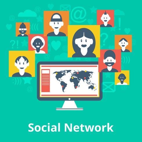 Ikonen-Zusammensetzungsplakat des Sozialen Netzes vektor