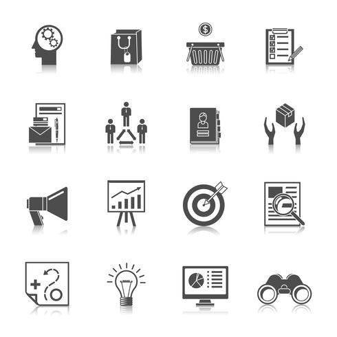 Marknadsförare Black Icons Set vektor