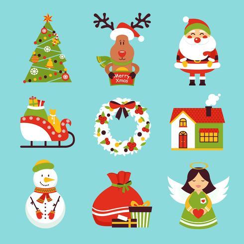 Jul ikoner uppsättning vektor