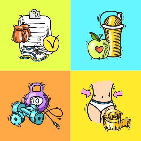 Fitness skiss illustration vektor