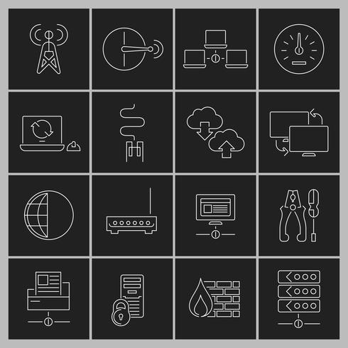 Netzwerk-Icons Set Gliederung vektor