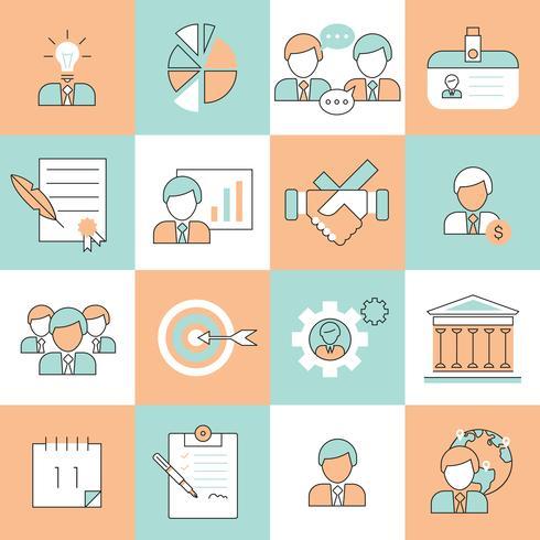 Business Management ikoner platt linje vektor