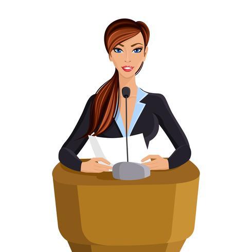Frauenkonferenzportrait vektor