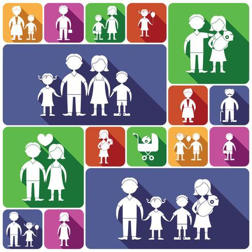 Familj ikoner ställs platt vektor
