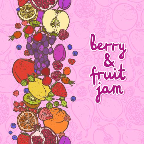 Obst- und Beerenrand vertikal vektor
