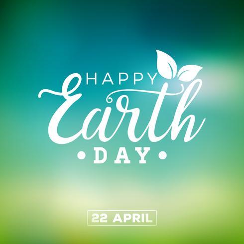 Earth Day illustration med Planet och Green Leaf. Världskarta bakgrunden den 22 april miljö koncept. vektor