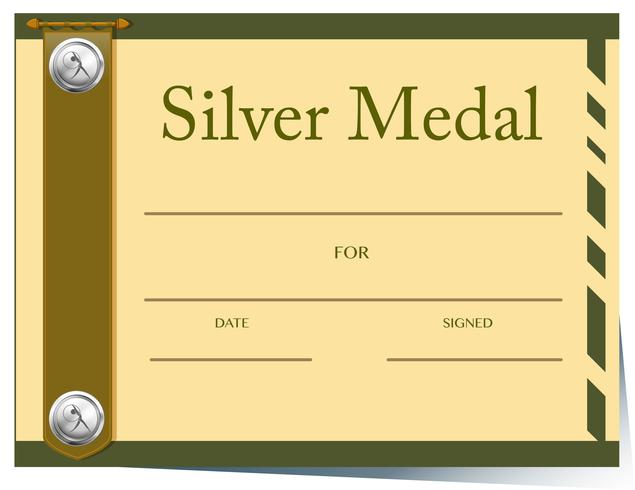 Zertifikatvorlage für Silbermedaille vektor