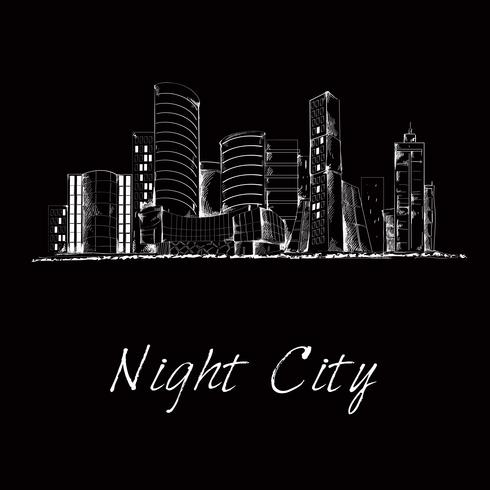 Skyline-Skizze der Nacht vektor
