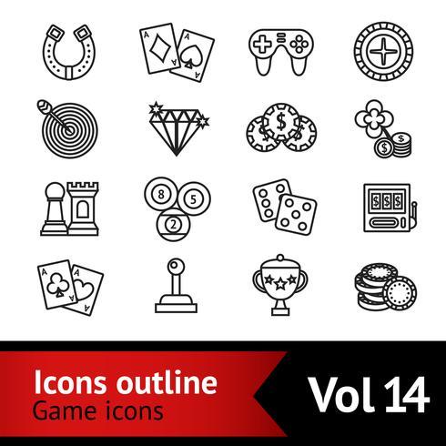 Inställningar för spelutskrifts ikoner vektor