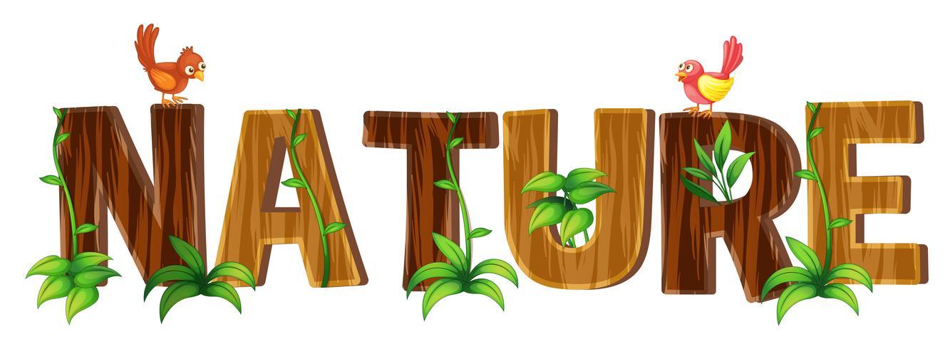 Font design med ord natur vektor