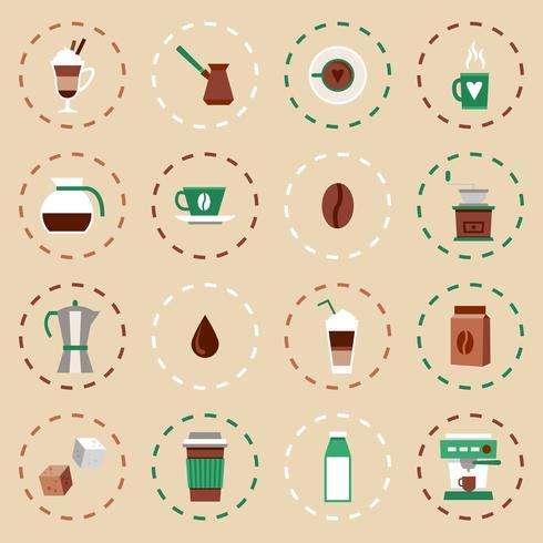 Kaffe platt ikoner Set vektor