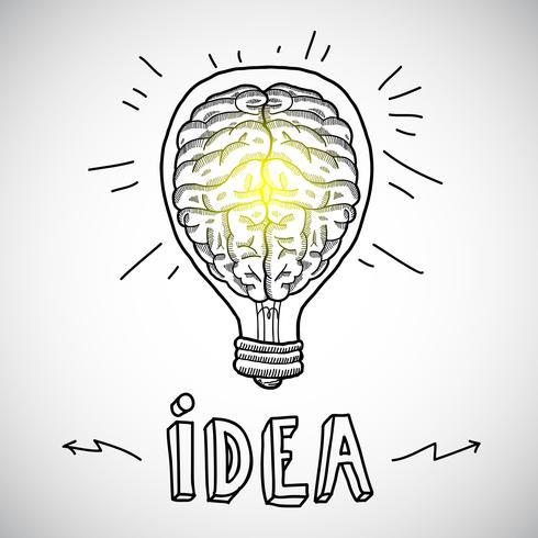 Menschliches Gehirn in Glühbirne-Skizze vektor
