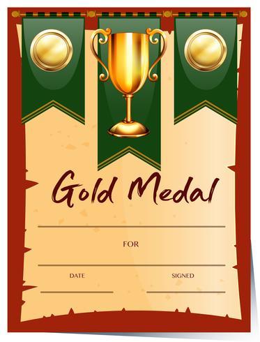 Certifikatmall för guldmedalj vektor