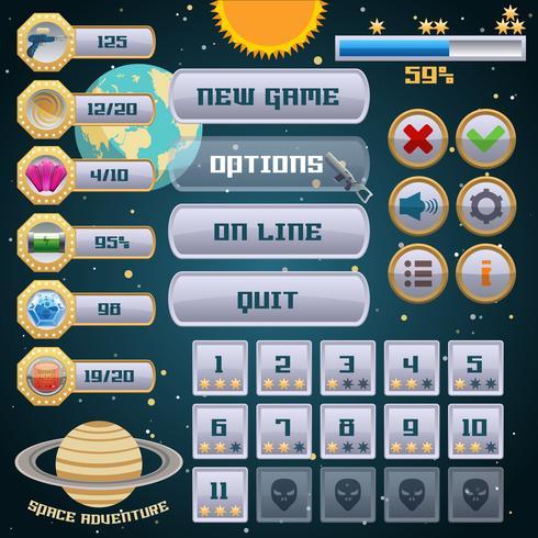 Space spel gränssnitt design vektor