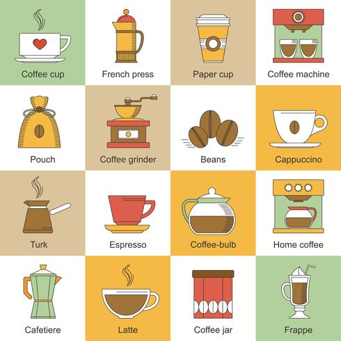 Kaffe ikoner platt vektor