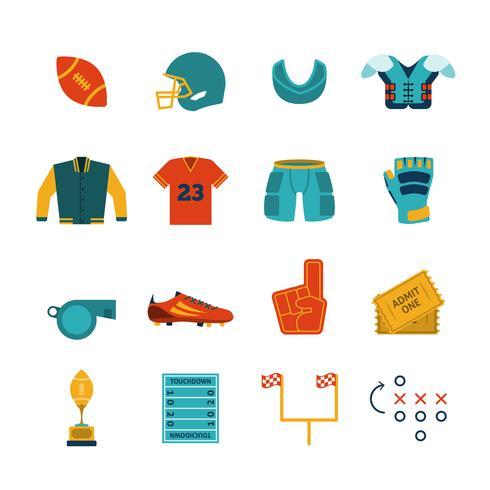 Rugby platt ikoner uppsättning vektor