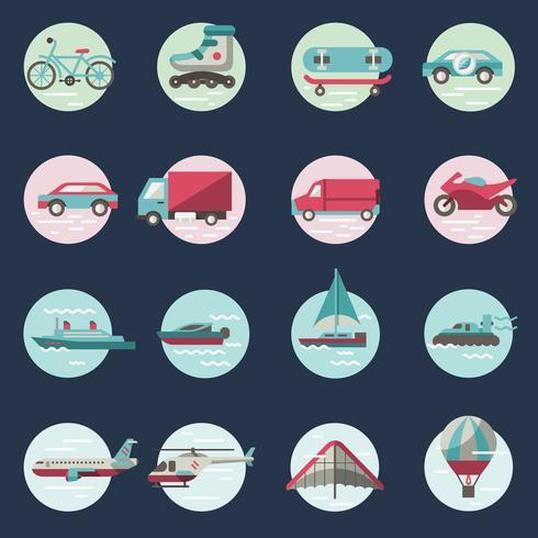 Transport Icons runden Satz vektor