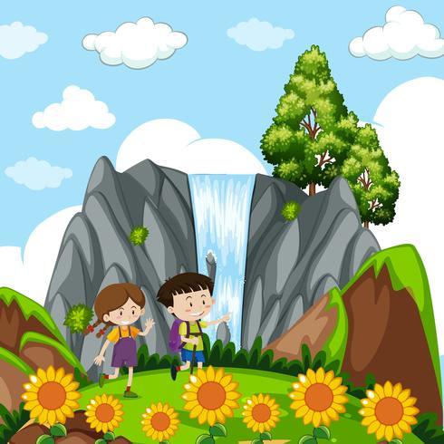 Barn vid vattenfallet vektor