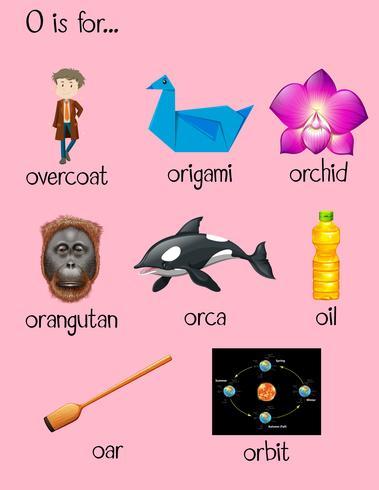 Viele Wörter beginnen mit dem Buchstaben O vektor