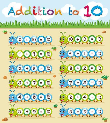 Tillägg till tio arbetsblad med caterpillar vektor