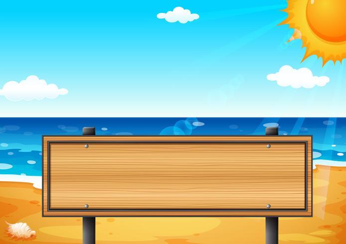 En tom träskylt på stranden vektor
