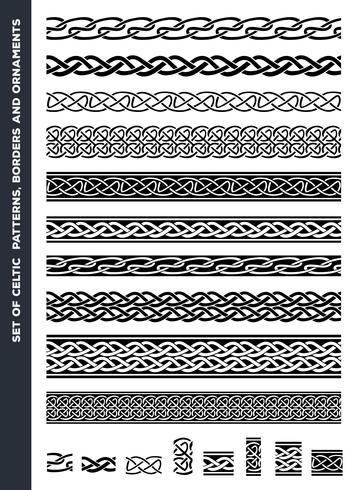 Keltiska mönster och prydnadssatser vektor
