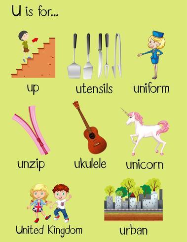 Många ord börjar med bokstaven U vektor