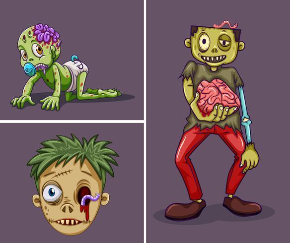Drei Zombies auf grauem Hintergrund vektor