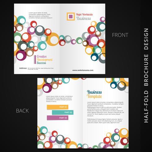 färgglad bifold broschyrdesign med cirklar vektor