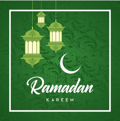 Ramadan Kareem Greeting Card und Hintergrund islamisch mit arabischem Muster vektor