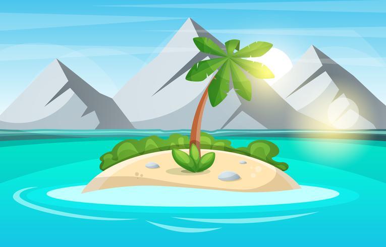 Inselkarikatur Meer und Sonne. vektor