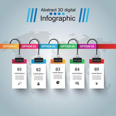 Abstrakt 3D digital illustration Infographic. vektor