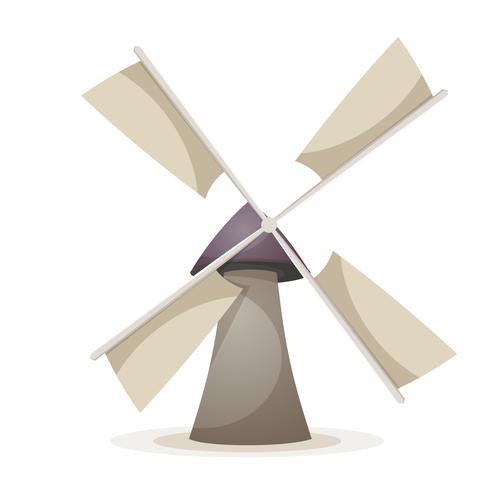 Tecknad vindkraftverk illustration. vektor
