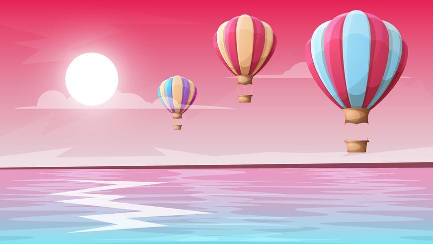 landskap berg. Luftballong vektor