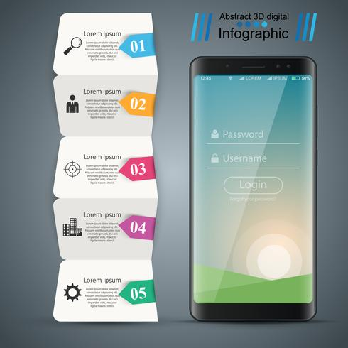 Digitales Gerät, Smartphone-Geschäft Infografik. vektor
