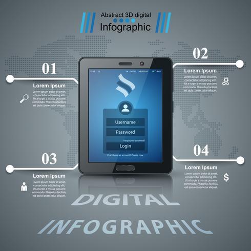 Geschäftsinfografik. Digital-Tablet-Symbol. vektor