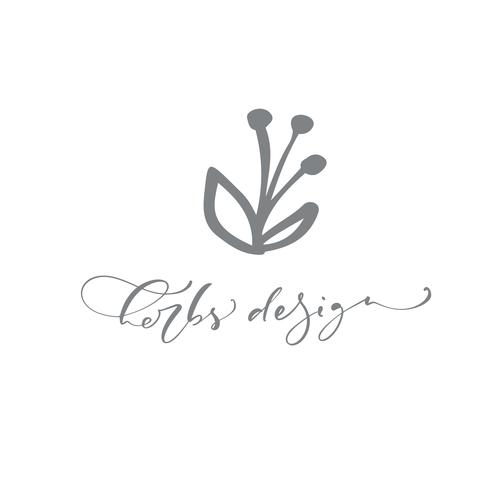 Kräuter Design Text Logo. Vektor modische skandinavische Blumenhand gezeichnete Schönheit.