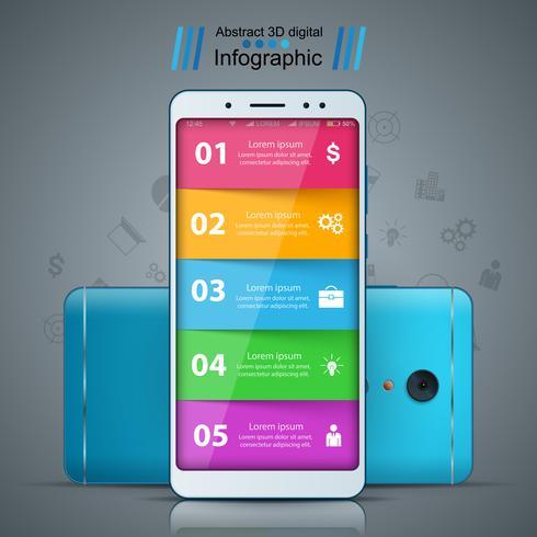 Geschäftsinfografik. Smartphone realistische Ikone. vektor