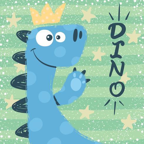 Söt dino tecken. Princess illustration. vektor
