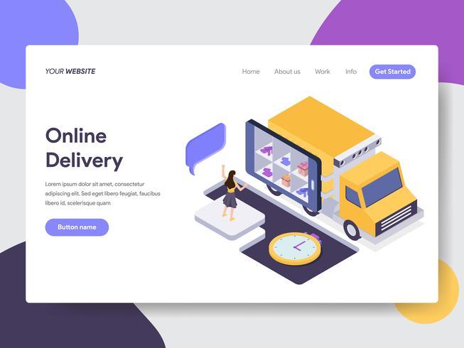 Målsida mall för Online Tracking Illustration Concept. Isometrisk plattformkoncept för webbdesign för webbplats och mobilwebbplats. Vektorns illustration vektor