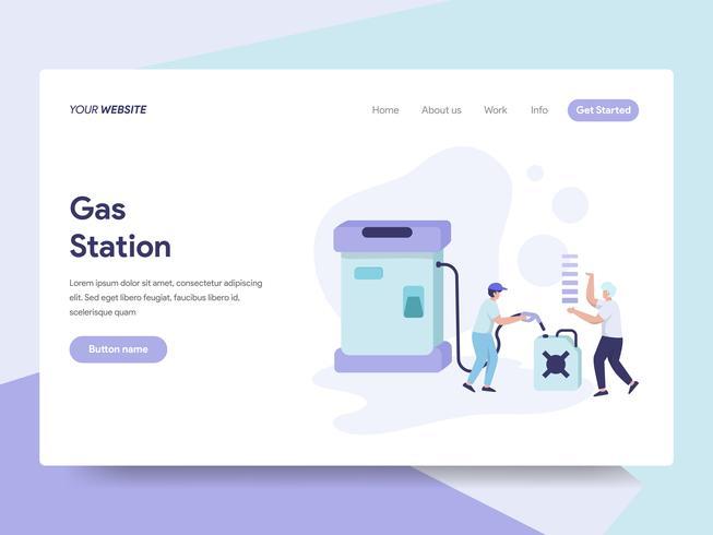 Målsida mall för bensinstation illustration koncept. Isometrisk plattformkoncept för webbdesign för webbplats och mobilwebbplats. Vektorns illustration vektor