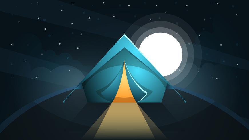 Nachtlandschaft. Zelt und Mond. vektor