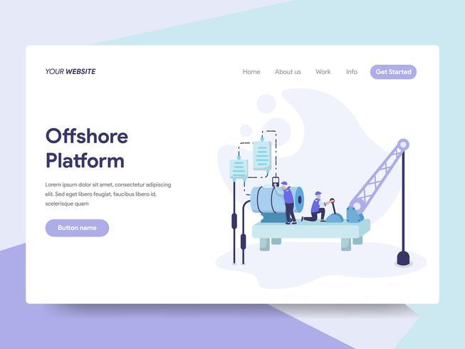 Målsida mall för Offshore Platform Illustration Concept. Isometrisk plattformkoncept för webbdesign för webbplats och mobilwebbplats. Vektorns illustration vektor