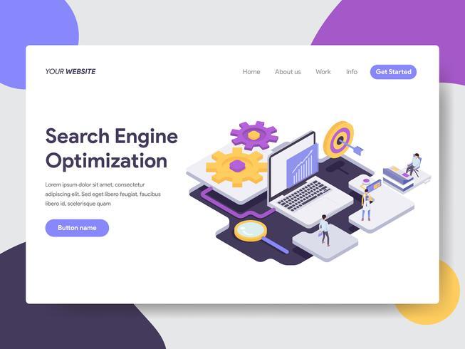 Målsida mall för sökmotoroptimering illustration koncept. Isometrisk plattformkoncept för webbdesign för webbplats och mobilwebbplats. Vektorns illustration vektor