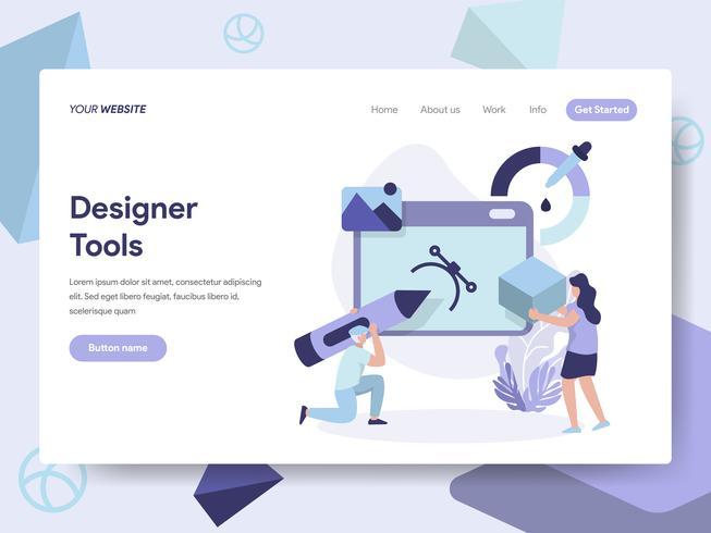 Målsida mall för 3D Designer Tools Illustration Concept. Isometrisk plattformkoncept för webbdesign för webbplats och mobilwebbplats. Vektorns illustration vektor
